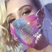 lovely Stylish Rhinestone Light Pink Face Mask