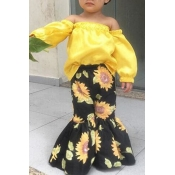 lovely Stylish Floral Print Yellow Girl Two-piece