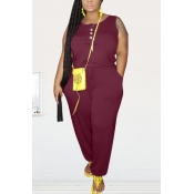 lovely Leisure Buttons Design Wine Red Plus Size O