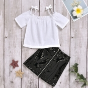lovely Casual Zipper Design White Girl Two-piece S