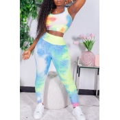 lovely Sportswear U Neck Tie Dye Blue Two Piece Pa