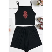 lovely Leisure Print Black Two Piece Shorts Set