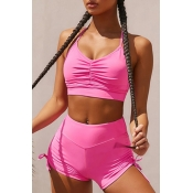 lovely Sportswear Fold Design Rose Red Two-piece S