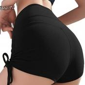 lovely Sportswear Bandage Design Black Shorts