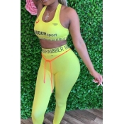 lovely Sportswear Letter Light Yellow Two-piece Pa