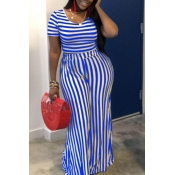 lovely Street Striped Blue Plus Size Two-piece Pants Set