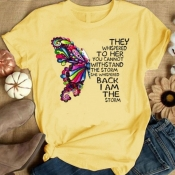 Lovely Casual O Neck Butterfly Print Yellow Plus S