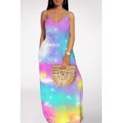 lovely Bohemian V Neck Tie-dye Purple Maxi Dress