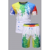 Lovely Leisure O Neck Print White Two-piece Shorts Set
