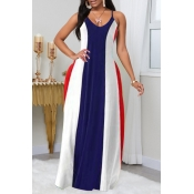 Lovely Casual Striped Print Blue Maxi Plus Size Dr