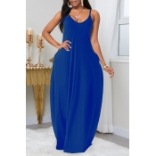 Lovely Leisure Pocket Patched Blue Maxi Plus Size Dress
