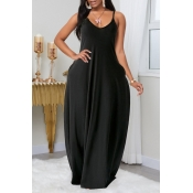Lovely Leisure Pocket Patched Black Maxi Plus Size