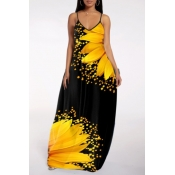 Lovely Street Print Yellow Maxi Plus Size Dress