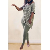 Lovely CasualV Neck Striped Green Plus Size Two-p