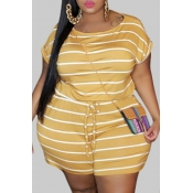 Lovely Leisure O Neck Striped Yellow Plus Size One
