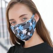 lovely Camo Print Grey Face Mask