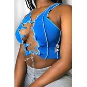 lovely Sexy Bandage Design Blue Camisole