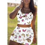 lovely Stylish Butterfly Print White Two Piece Ski
