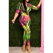 lovely Casual Print Green Two Piece Pants Set