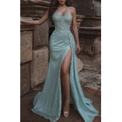 lovely Party Side High Slit Light Green Maxi Dress