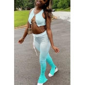 lovely Sexy Gradual Change Bandage Design Skyblue Two Piece Pants Set