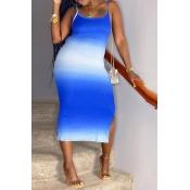 lovely Casual Gradual Change Blue Knee Length Dres