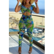 lovely Stylish Print Hollow-out Green One-piece Ju