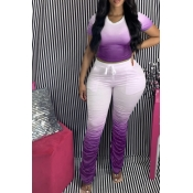 Lovely Casual Gradual Change Purple Plus Size Two-