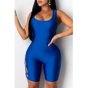 lovely Sexy Bandage Design Blue One-piece Romper