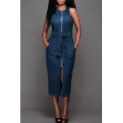 lovely Stylish O Neck Zipper Design Blue Mid Calf