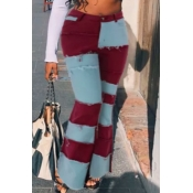 lovely Stylish Patchwork Red Jeans