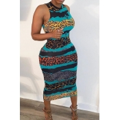 lovely Leisure U Neck Print Blue Mid Calf Dress
