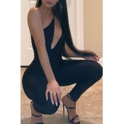 lovely Sexy Dew Shoulder Hollow-out Black One-piece Jumpsuit