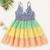 lovely Sweet Grid Print Patchwork Multicolor Girl