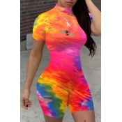 lovely Sexy Tie-dye Hollow-out Rose Red One-piece Romper