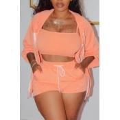 lovely Casual Lace-up Orange Three piece Shorts Se