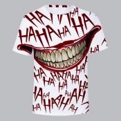 Lovely Stylish O Neck Print White T-shirt