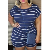 Lovely Leisure O Neck Striped Dark Blue Plus Size