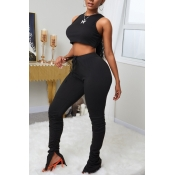 lovely Sportswear Fold Design Black Two Piece Pant
