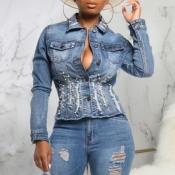 lovely Stylish Buttons Design Blue Denim Jacket