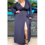 lovely Casual Lace-up Royalblue Maxi Plus Size Dre