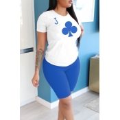 lovely Casual O Neck Print Blue Two Piece Shorts Set
