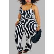 lovely Trendy Striped Black Plus Size One-piece Ju