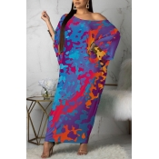 lovely Casual Print Purple Ankle Length Plus Size