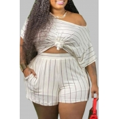 lovely Casual Striped White Plus Size Two-piece Sh