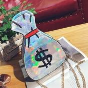 lovely Chic Chain Strap Silver Crossbody Bag