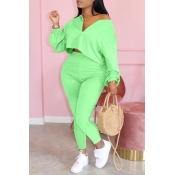 Lovely Casual Zipper Design Green Plus Size Two-pi
