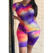 Lovely Casual Tie-dye Purple Plus Size Two-piece S