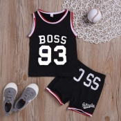 Lovely Sportswear Letter Black Boy Two-piece Shorts Set