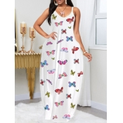 lovely Casual Butterfly Print White Maxi Dress
